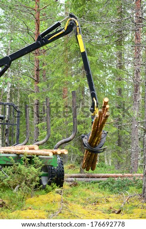 Tree log hydraulic manipulator - tractor
