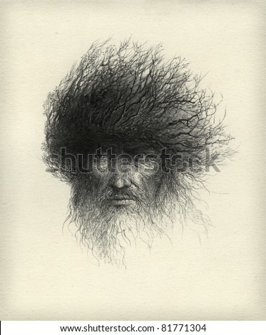Tree Man. Ink on paper. - stock photo