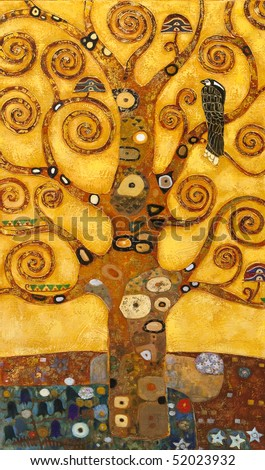 tree of abstract swirl, oil on canvas - stock photo