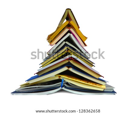Tree of books isolated on a white background - stock photo