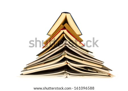 Tree of books on a white background. Conceptual photography - stock photo