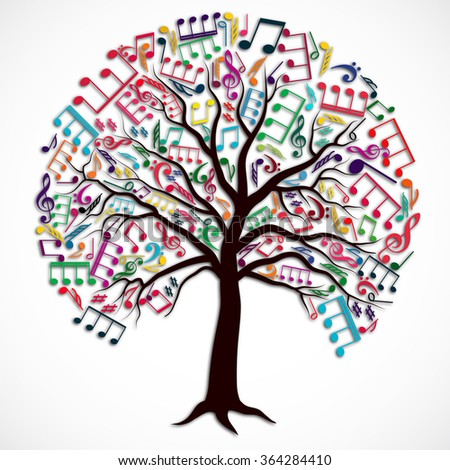 tree of colorful music notes with shadow/ illustration