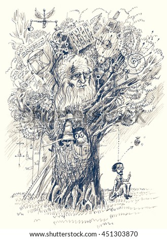 Tree of Knowledge. Back to school. Scientist makes discovery. Metaphor of scientific thought. Pencil drawing - stock photo