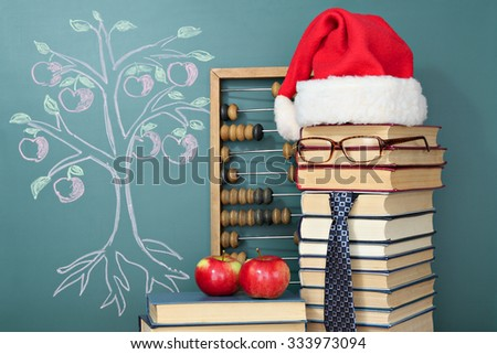Tree of knowledge education concept with Santa Claus - stock photo