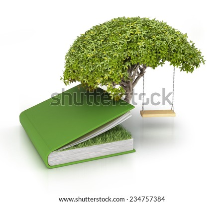 Tree of knowledge growing out of book - stock photo