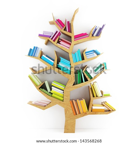 Tree of Knowledge, Wooden Shelf with Multicolor Books Isolated on White Background - stock photo