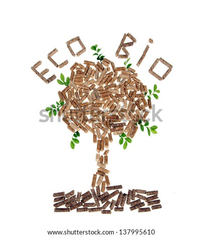 Tree of wood pellet on white background with leaves - stock photo