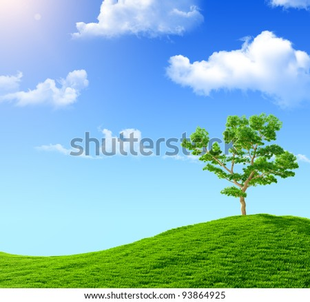Tree on a green hill against the blue sky - stock photo
