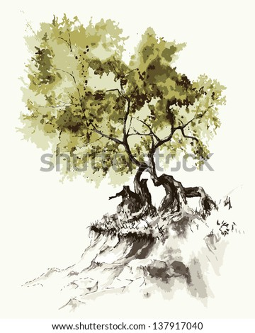 Tree on the slope. Raster version of a vector image.