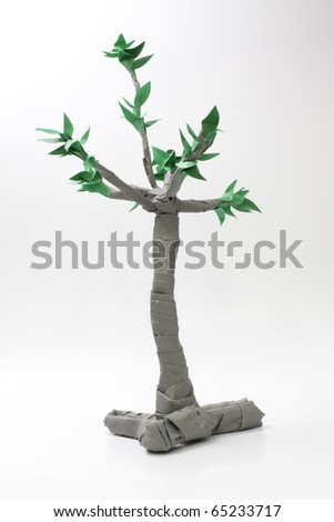 tree origami isolated on white