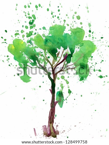 tree painted in watercolor on white background - stock photo