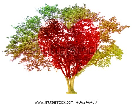 tree pastel colored  gradient and red heart-shaped isolated on white background