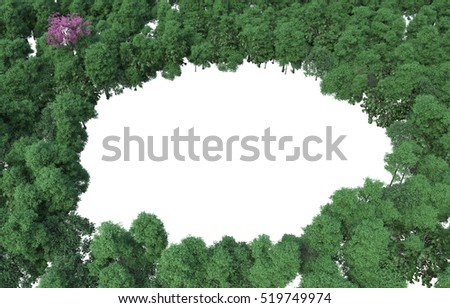 Tree / Plant / one pink in the green variety,3D abstract on white background Perfect for your presentations.