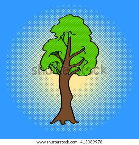 Tree Pop art raster illustration. Beautiful green maple tree in comic style. Hand drawn - stock photo