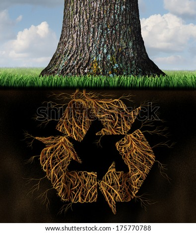 Tree recycle symbol concept as underground roots shaped as recycling icon arrows in a world environmental and conservation metaphor for global natural resources and the renewable cycle of nature. - stock photo