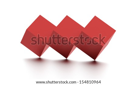 Tree red cubes icon on white background - stock photo