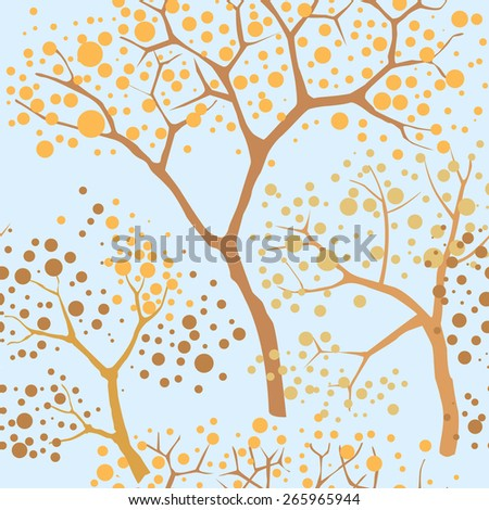 Tree seamless pattern. Nature garden background. Plant branches  seamless texture. Forest seamless background.  - stock photo