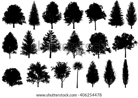 tree set Silhouettes for architecture landscape design, tree object collection set isolated on white background. - stock photo