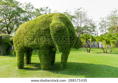 Tree shaped elephants in Bangkok - stock photo