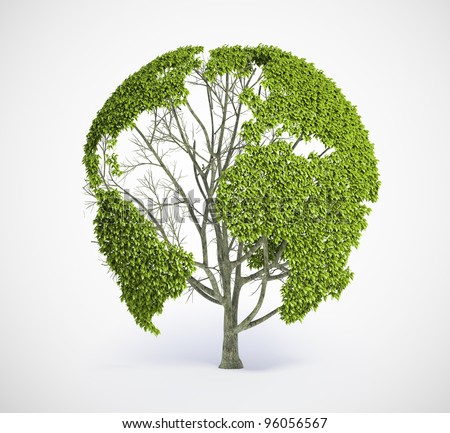 Tree shaped like the World map - stock photo