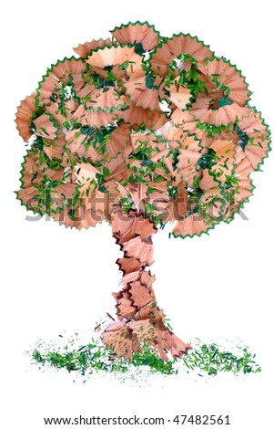 Tree shaped with wooden shavings - stock photo