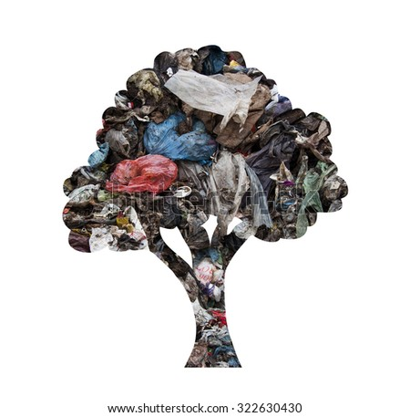 Tree silhouette made of municipal waste as concept for environmental pollution - stock photo