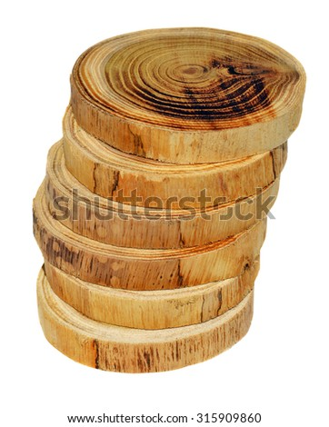 Tree slices without barks - stock photo