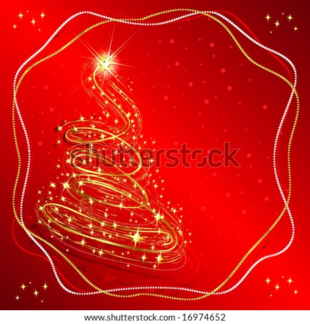 Tree Snowflakes Star Christmas and New Year background decorated with gold pattern on a red background JPG (See Vector  Also In My Portfolio)