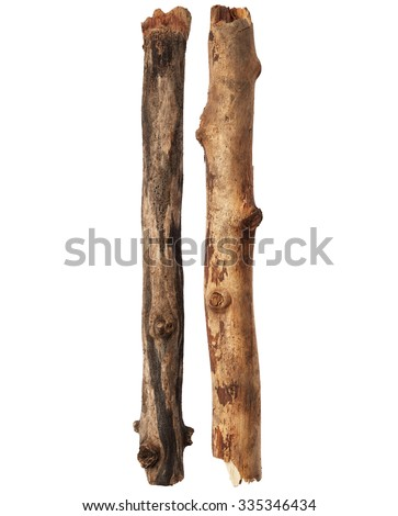 Tree sticks isolated on white background - stock photo