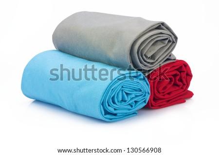 Tree towel on white background - stock photo
