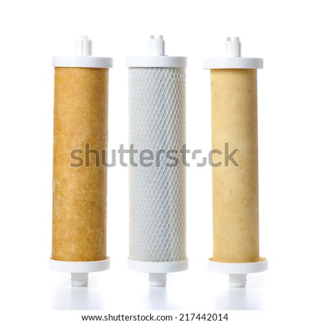 tree type of used water filter, Ion exchange resin, Activated carbon block and Ultra filtration membrane - stock photo