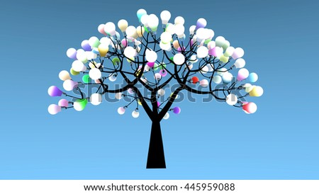 Tree whose leaves are bulbs. Colored lights are powered on. 3D Rendering - stock photo
