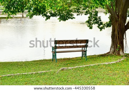 Tree with bench and green grass - stock photo