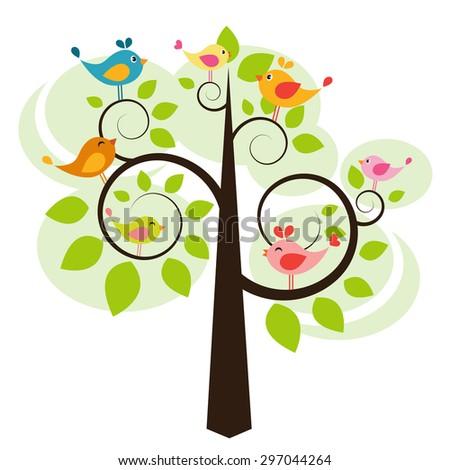 tree with birds. Raster version - stock photo