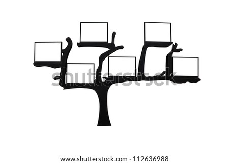 tree with blank space for text isolated on white back ground,with clipping path - stock photo