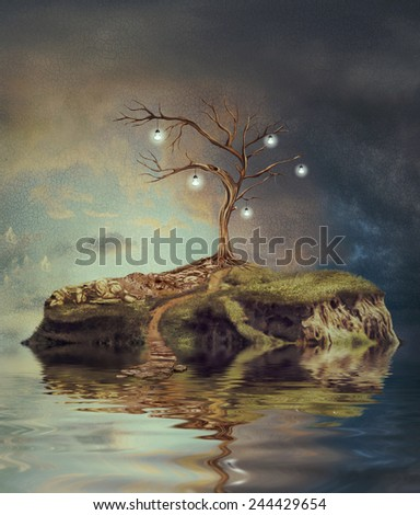Tree with light bulbs on an island on small lake