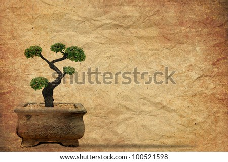 Tree with old grunge paper vintage background - stock photo