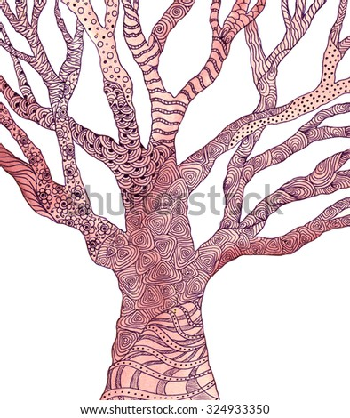 Tree with pattern. Watercolor picture. Zentangle. - stock photo