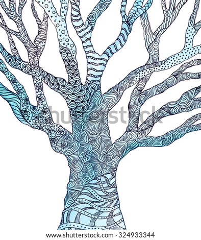 Tree with pattern. Watercolor picture. Zentangle. Doodles - stock photo