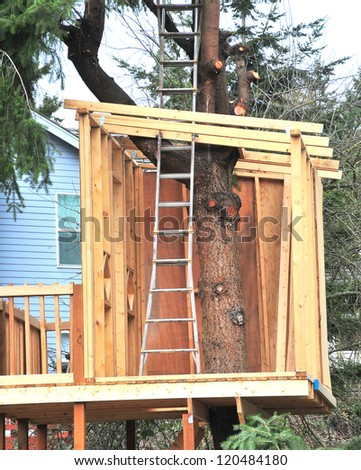 Treehouse built for the kids to play in outdoors. - stock photo