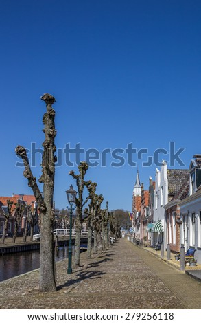 Trees along the central canal in historical Sloten, Holland - stock photo