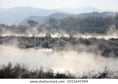 Trees and reeds are covered with snow, and the river has water mist.(Soyang River, Chuncheon City, Korea)