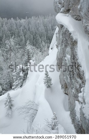 Trees and rocks covered by snow in winter cloudy day in South Urals mountains, Russia. - stock photo