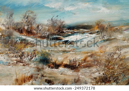 Trees and shrubs in a snowy landscape, oil painting artistic background                                - stock photo