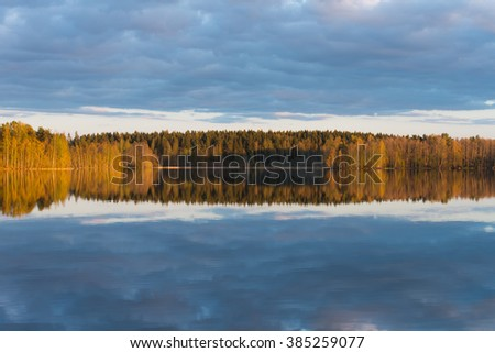 trees are reflected in the water