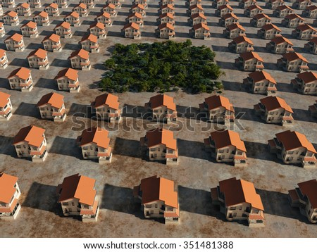 trees between rows of houses - stock photo