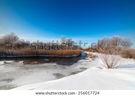 Trees covered with hoarfrost on the banks of a frozen river. - stock photo