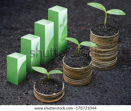 trees growing on coins / csr / sustainable development / economic growth / trees growing on stack of coins / Business growth with csr practice - stock photo