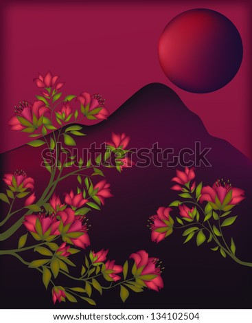 Trees of lilies on a burgundy background with mountains and the moon. - stock photo