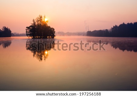 Trees on lake early at sunrise - stock photo